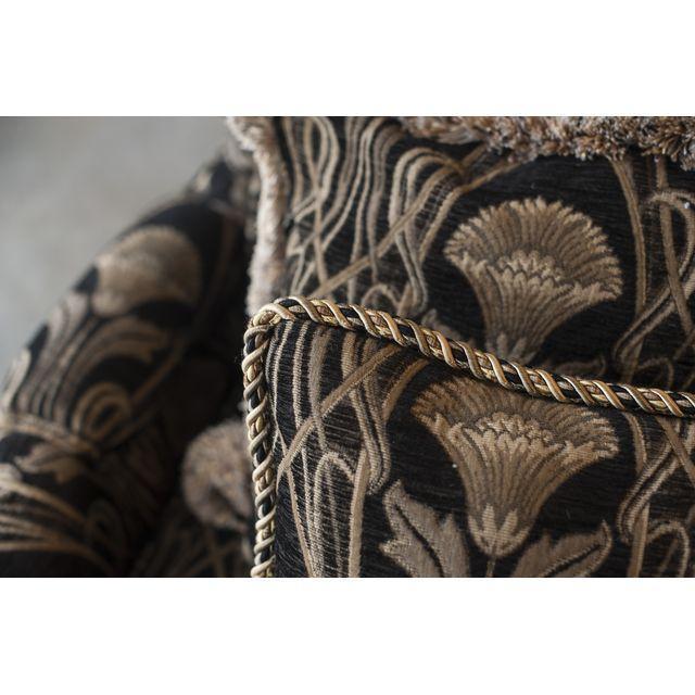 Custom Pearson Black Cream Floral Chair & Ottoman - Image 3 of 7