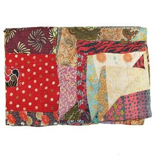 Vintage Red Kantha Quilt For Sale