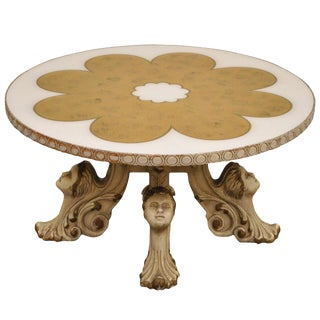1960s Hollywood Regency Figural Carved Faces Gold Leaf Round Coffee Table For Sale