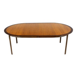 Dunbar Two-Tone Light & Dark Walnut Dining Table With Two Leaves For Sale