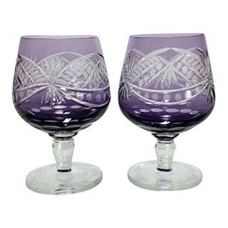 Vintage Bohemian Cut to Clear Purple Brandy Snifters - A Pair
