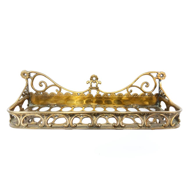 1900 - 1909 Antique Victorian Ornate Solid Brass Bathroom Wall Mounting Soap Dish For Sale - Image 5 of 5