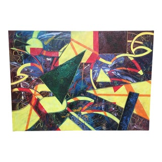 """Late 20th Century Massive Abstract Painting on Canvas """"Neon Nightlife"""" by William For Sale"""
