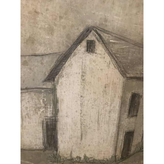 """""""Farmhouse"""" is Venetian plaster on wood in shades of gray. 36"""" x 48"""""""