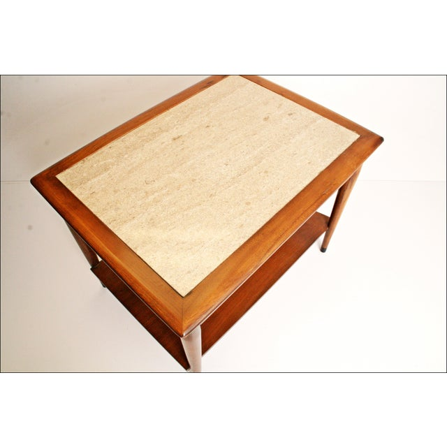 Danish Modern Wood Stone Top End Tables - Pair - Image 11 of 11