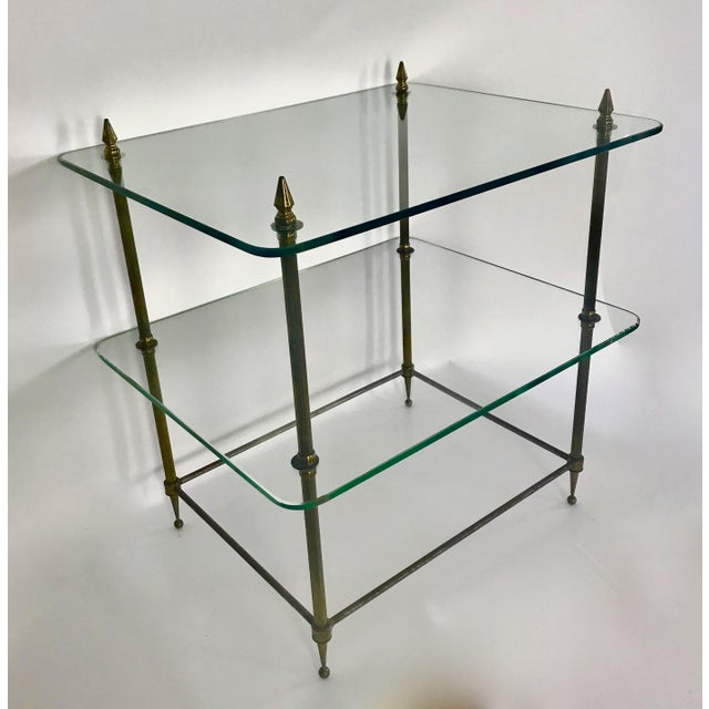 1930s Two-Tiered Glass and Brass Side Table For Sale - Image 5 of 11