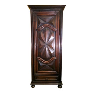 """18th Century French Walnut Normandy """"Bonnetiere"""" Single Door Armoire For Sale"""