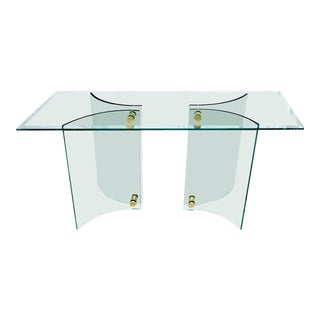 Curved Glass Base Glass Top Brass Stretchers Console Table For Sale
