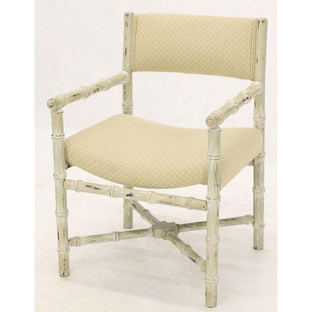 Pair of Distressed Finish Faux Bamboo Capitan Chairs With X Bases For Sale - Image 10 of 13
