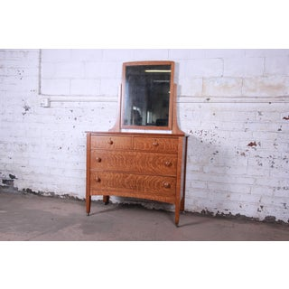 Antique Tiger Oak Dresser With Swing Mirror, Circa 1900 Preview