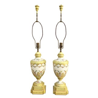 19th Century French Porcelain Urn Lamps - a Pair For Sale