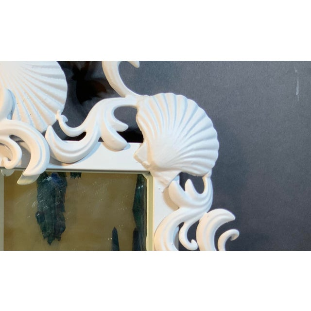 White Sea Shell Iron Mirror For Sale - Image 8 of 13