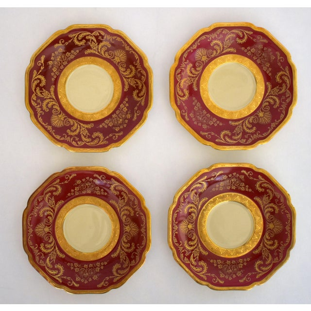 Heinrich and Co. Selb H & C Bavaria German Porcelain Red and Gold Encrusted Tea Cup and Saucer - Service for 4 For Sale In Sacramento - Image 6 of 12