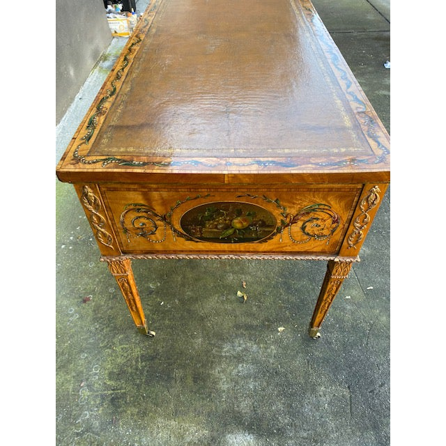 Fine Early 19th C. English Painted Satonwood Desk With Leather Top For Sale - Image 11 of 13