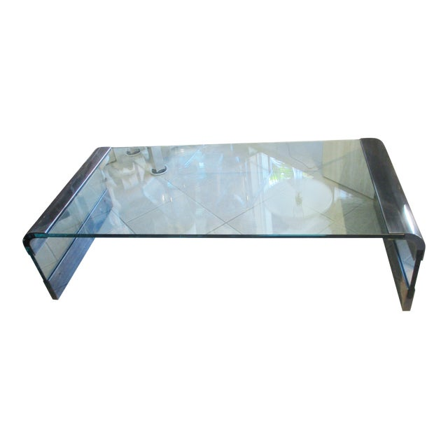 1970s Pace Collection Waterfall Coffee Table by Leon Rosen For Sale