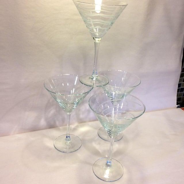 Vintage Etched Crystal Martini Glasses - Set of 4 - Image 7 of 11
