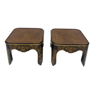 1970s Chinoiserie Black & Gold Baker Furniture Side Tables - a Pair For Sale