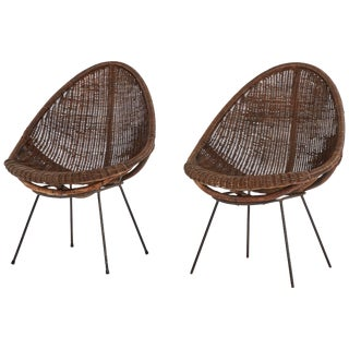 Mid-Century Bamboo and Rattan Chairs From France - a Pair For Sale