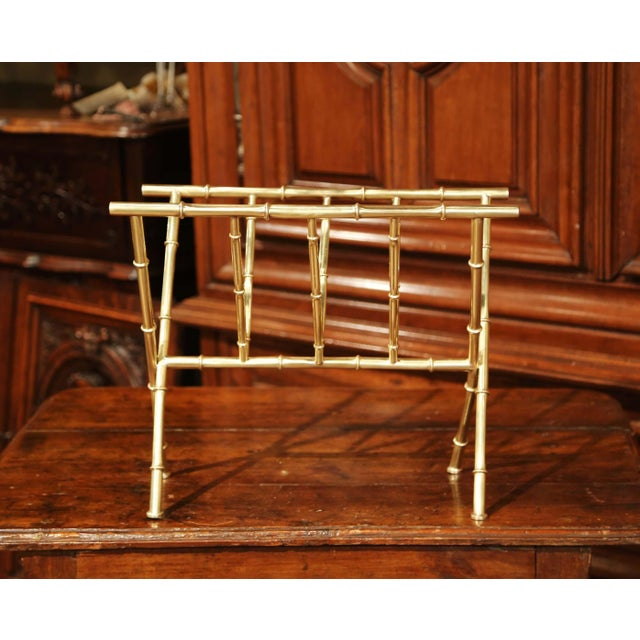 French Mid-20th Century French Maison Baguès Bamboo Brass Magazine Rack For Sale - Image 3 of 7