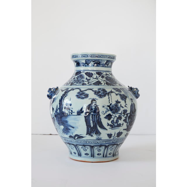 Ceramic Vintage Mid-Century Ming Style Chinese Blue and White Vase For Sale - Image 7 of 7