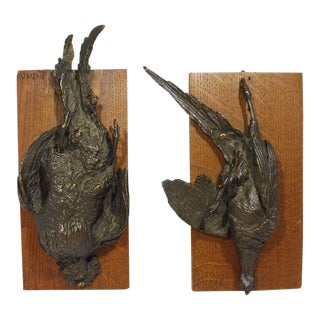 Pair of Authentic Signed PJ Mene Dead Foul Bronzes on Wood Plaques