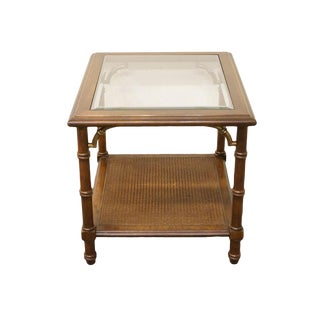 Lane Furniture Asian Chinoiserie Faux-Bamboo Glass Top End Table For Sale