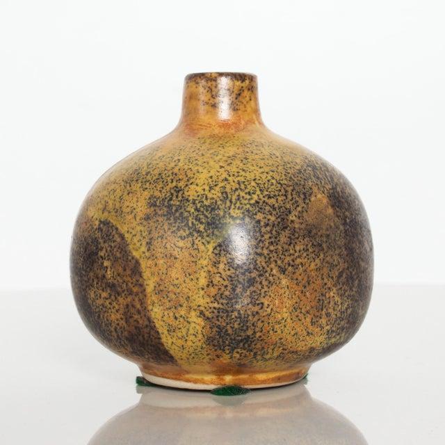 1960s Modern Mini Weed Pot Honey Glazed Ceramic California Studio Pottery 1960s For Sale - Image 5 of 11