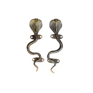 Green Brass Cobra Door Handles - a Pair For Sale