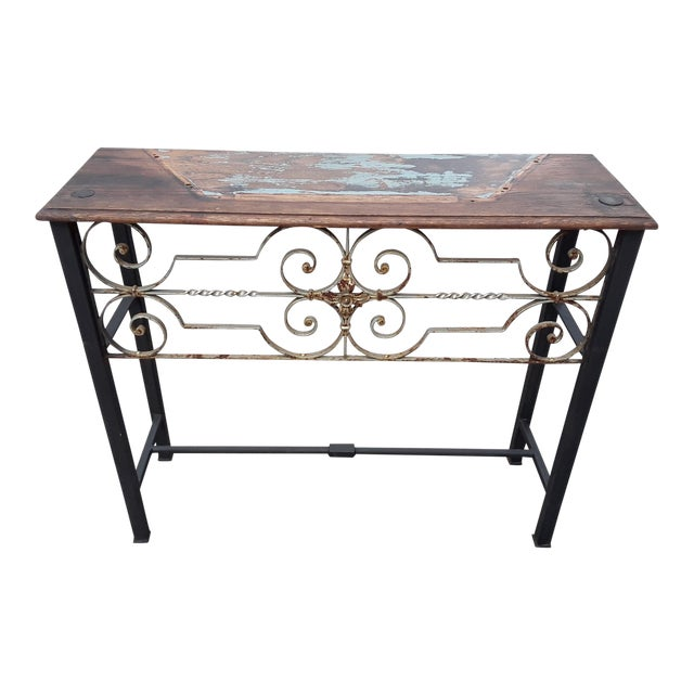 Antique European Hand Wrought Iron Transom Console For Sale