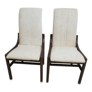 Vintage Henredon Scene One Campaign Dining Side Chairs - a Pair