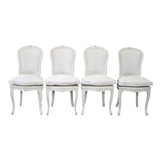 Vintage Mid Century Painted and Upholstered Linen Louis XV Style Dining Chairs- Set of 4 For Sale