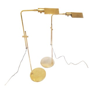 1980s Vintage Mid Century Omi Brass Adjustable Floor Lamps - a Pair For Sale
