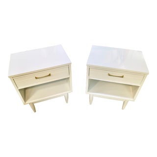 White Lacquered Side Tables - a Pair For Sale