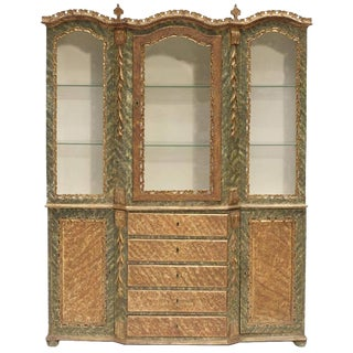 Venetian Baroque Style Breakfront Display Cabinet, 19th Century For Sale