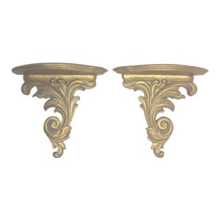 Hollywood Regency Gold Wall Brackets - A Pair For Sale
