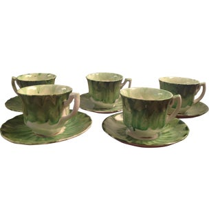 Myott Hand Painted Demitasse Cups & Saucers - Set of 5