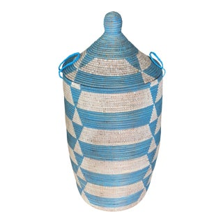 Blue Handwoven Geometric Basket For Sale