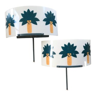 Rare Mid Century Lucite Tiki-Themed Wall Sconce Lamps - a Pair, For Sale