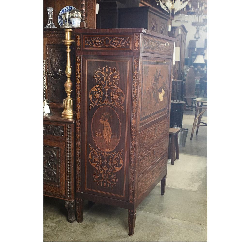 1920s Italian Marquetry Cabinet With Fall Front Bar For Sale   Image 5 Of 9