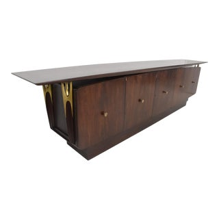 Mid Century Modern Solid Mahogany & Brass Credenza Attributed to Eugenio Escudero