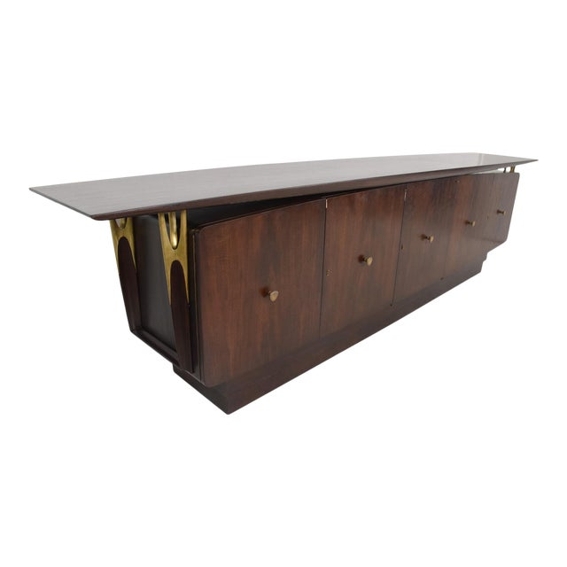 Mid Century Modern Solid Mahogany & Brass Credenza Attributed to Eugenio Escudero - Image 1 of 7