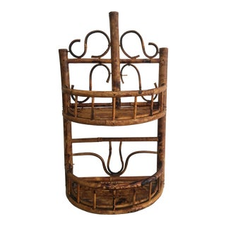 Vintage Chinoiserie Tortoise Shell Burnt Bamboo Wall Shelf For Sale