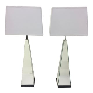 Mid Century Modern Mirrored Obelisk Table Lamps - a Pair For Sale