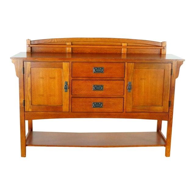 Mission Style Basset Oak Sideboard For Sale
