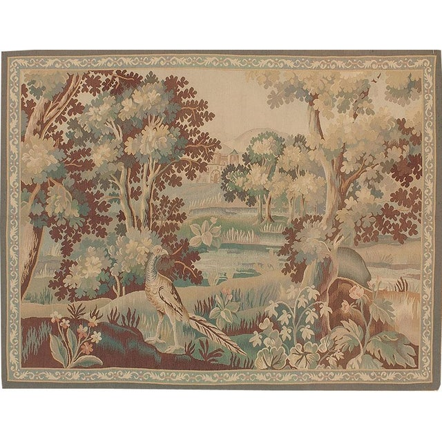 Recreation of an 18th Century Aubusson Design Verdure Tapestry For Sale - Image 4 of 4