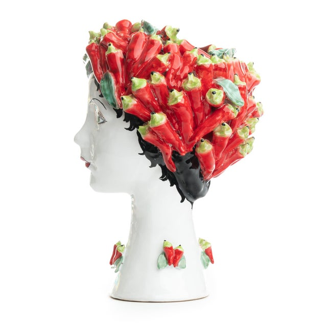 DESCRIPTION This d'arte ceramic sculpture with peppers is hand crafted by Ivana Dolfi in Montelupo, Italy. The modern art...