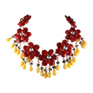 Francoise Montague Red and Yellow Agate Floral Motif Necklace For Sale