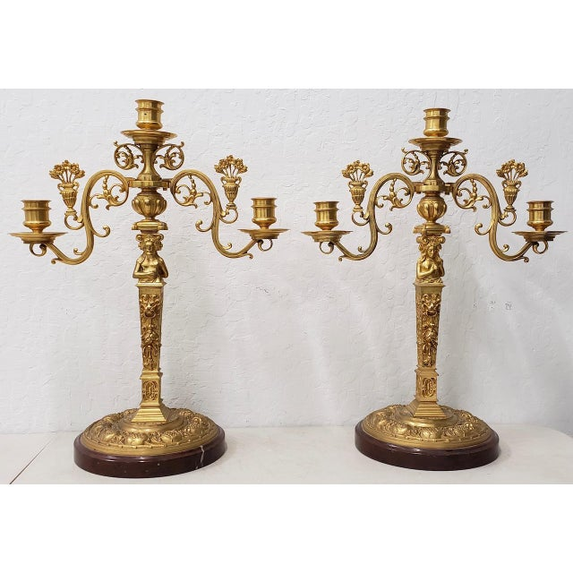 Remarkable Pair of 19th Century Matching French Gilded Bronze Candelabras - A Pair For Sale - Image 11 of 11