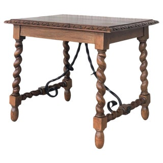 19th Century Salomonic Baroque Side Table With Carved Top and Iron Stretchers For Sale