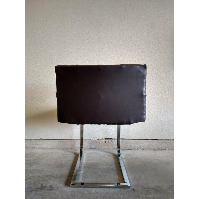 Tufted Dark Cowhide Leather Chair - Image 5 of 5